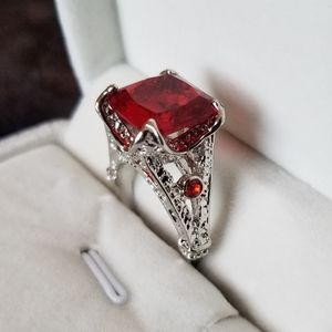 50% off! Large Red Princess Cut Ring